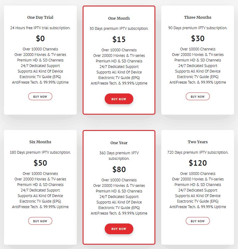 IPTVtune pricing plan